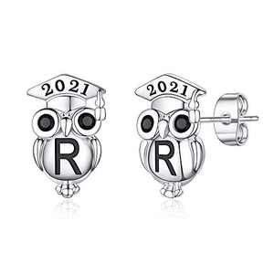 Graduation Gifts for Her Owl Earrings, S925 Sterling Silver Post 14K Gold Plated 2021 Initial Owl Stud Earrings Hypoallergenic Earrings for Sensitive Ears Graduation Friendship Gifts for Her 2021(R)
