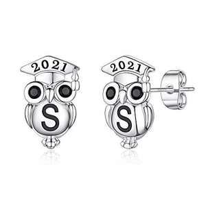 Graduation Gifts for Her Owl Earrings, S925 Sterling Silver Post 14K Gold Plated 2021 Initial Owl Stud Earrings Hypoallergenic Earrings for Sensitive Ears Graduation Friendship Gifts for Her 2021(S)
