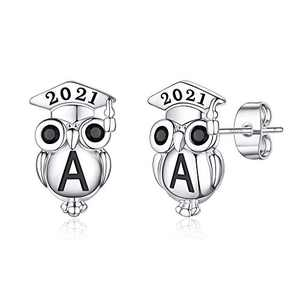 Graduation Gifts for Her Owl Earrings, S925 Sterling Silver Post 14K Gold Plated 2021 Initial Owl Stud Earrings Hypoallergenic Earrings for Sensitive Ears Graduation Friendship Gifts for Her 2021(A)