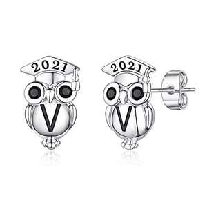 Graduation Gifts for Her Owl Earrings, S925 Sterling Silver Post 14K Gold Plated 2021 Initial Owl Stud Earrings Hypoallergenic Earrings for Sensitive Ears Graduation Friendship Gifts for Her 2021(V)