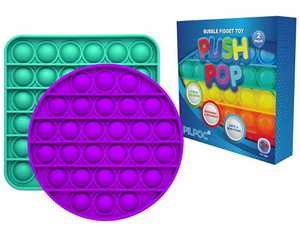 PILPOC Push Pop Bubble Fidget Toy (2 Pack) - Sensory Bubble Pop Wrap Push It Stress Anxiety Reliever Squeeze, for ADHD, Autism, Focus, Non Toxic Washable Durable Silicone (Green & Purple)