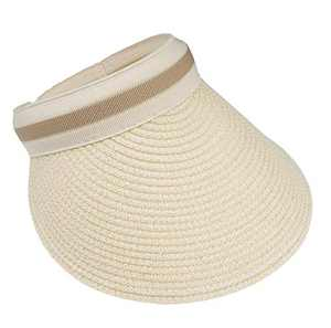 VIVIAN & VINCENT Women's Wide Brim Sun Hats Straw Golf Visor Summer Beach Panama Hat Sunscreen Beige