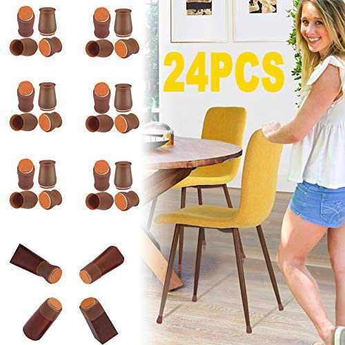 """Extra Small Fit 0.8""""to 1.3""""Chair Leg Caps Floor Protectors Furniture Leg Feet Protective Cover, Chair Leg Protectors for Hardwood Floors, Silicone Furniture Pads with Felt, Slide No Scratches No Noise"""