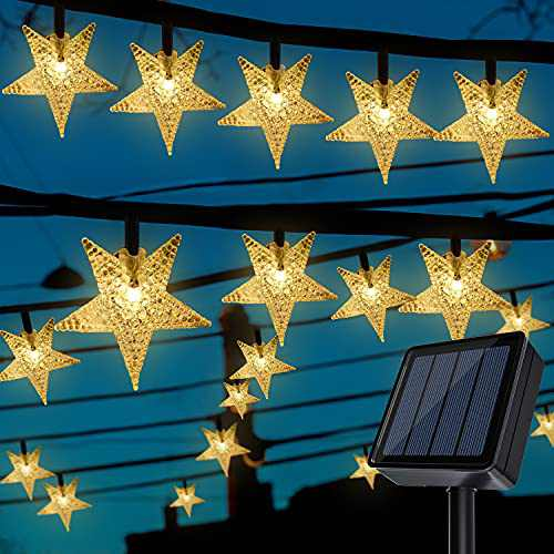 Solar Star String Lights 100 LED 39.4 FT Star String Lights, Plug in Fairy String Lights Waterproof, Extendable for Indoor, Outdoor, Ramadan, Wedding Party, Christmas Tree, New Year, Garden Decoration