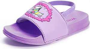 WHITIN Little Kid Sandals Water Shoes Girl Toddler Size 11 Sandalias Niñas Slide Slippers Strap Waterproof for Summer Beach Pool Swimming Walking Year Old Child Cute Purple Pink Zebra 28