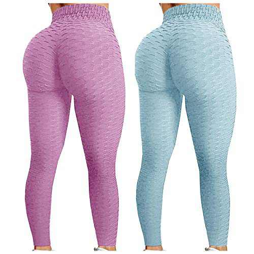 2 Pack TIK Tok Leggings, Butt Lift Legging, Women's Yoga Pants High Waisted ummy Control Bubble Hip Lift Tights (Light Purple&Light Blue, M)
