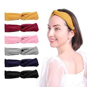 Rosmax 6 Pack Headbands Head Wraps for Women Yoga Running Headbands Sports Workout Hair Bands with Soft Headbands Hair Bands Bows Hair Accessories, Yellow, Black, Pink, Grey, Red, Blue