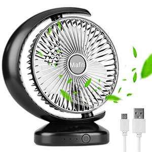 Mafiti 8 inch Desk Fan Rechargeable, USB Battery Operated Fan 3 Speed, Small Box fan for Bedroom Office Home (1-PACK Black)