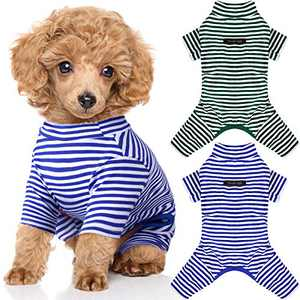 2 Pieces Pet Jumpsuit Puppy Pajamas Soft Dog Pajamas Striped Puppy Outfits Cute Dog Bodysuits Breathable Pet Clothes for Small Dogs Cats (Small)