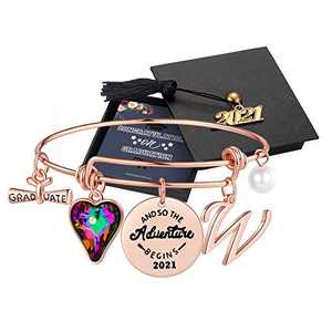 Graduation Gifts for Her 2021, High School Class of 2021 Graduation Gifts for Best Friend, Rose Gold Inspirational Congrats Grad Crystal W Initial Graduation Bracelets for Women Girls Gifts Jewelry