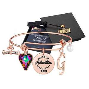 Graduation Gifts for Her 2021, Seniors High School Class of 2021 Graduation Gifts for Best Friend, Rose Gold Inspirational Meaningful G Initial Graduation Bracelets for Women Girls Gifts Jewelry
