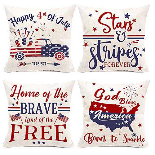Hexagram Patriotic Pillow Covers 18x18 Set of 4,4th of July Farmhouse Pillow Covers for Sofa Couch,Decorative American Independence Memorial Day Outdoor Decoration