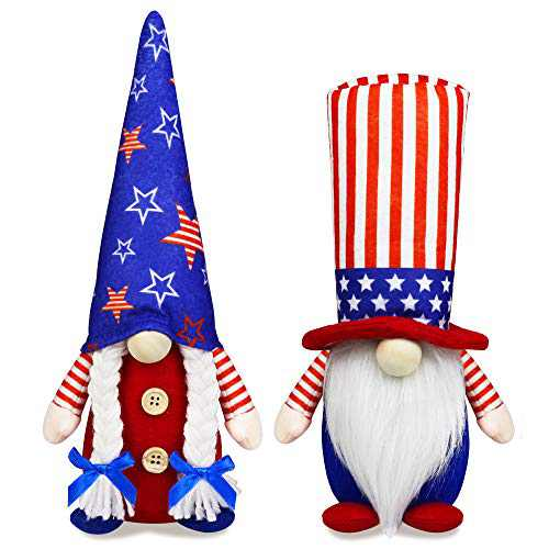 4th of July Patriotic Gnome Decorations, 2 PCS Handmade Mr & Mrs USA Swedish Tomte Gnomes Plush Table Ornaments Gift for Independence Day Memorial Day Presidents Day Veterans Day Armed Forces Day