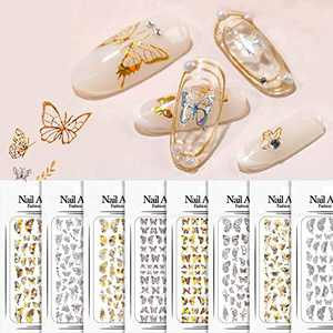 Butterfly Nail Stickers Decals for Nail Art Design Self-Adhesive Gold and Silver Color Laser Nails Decoration Accessories - 8 Sheets
