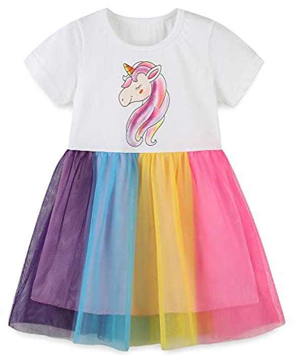 Girls Summer Dresses Unicorn Short Sleeve Princess Birthday Party Dress for Kids 1-7 Years