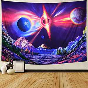 Trippy Planet and Mountain Tapestry Psychedelic Outer Space Tapestry Mysterious Starry Galaxy Landscape Tapestry Forest Trees Tapestry Wall Hanging for Living Room