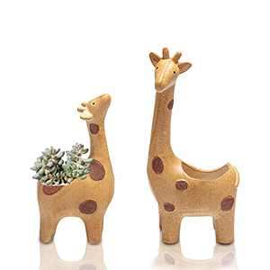 Ceramic Animal Succulent Plant Pots 11.02 + 8.48 in Creative Giraffe Cactus pots Flower Planters for Desktop Usage Home Decoration(11.02 + 8.48 in Giraffe)