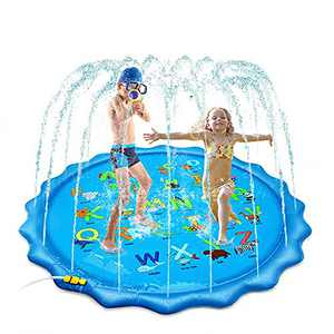 """SSBRIGHT Large Inflatable Water Splash Pad Sprinkler for Kids Toddlers Dogs, Baby Infant Wading Swimming Pool - Outdoor Fun Backyard Fountain Play Mat for Boys and Girls 67"""""""