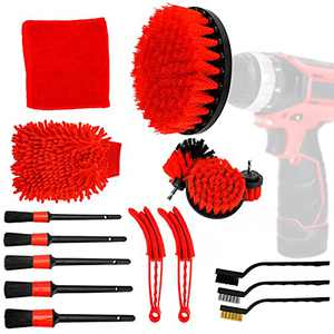 EVBOYS 16 Pcs Auto Detailing Brush Kit for Cleaning Wheels, Tires, Rims Drill Brush Wire Brush Automotive Air Conditioner Brush Car Wash Supplies