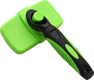 Self Cleaning Slicker Brush – Gently Removes Loose Undercoat, Mats and Tangled Hair – Your Dog or Cat Will Love Being Brushed with The Grooming Brush (Green)