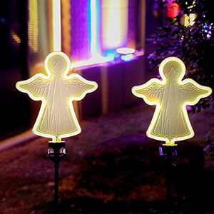 Ostritec 2 Pack Solar Angel Neon Lights Halloween Decoration, Metal Garden Lamp 42 Inches Path Lighting with Waterproof Decoration, for Garden Yard Lawn Walkway Decor (with Stakes)