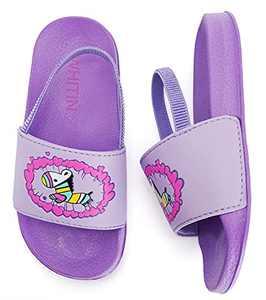 WHITIN Toddler Girl Sandals Water Shoes Little Kid Size 6 Sandalias Niñas Slide Slippers Strap Waterproof for Summer Beach Pool Swimming Walking Year Old Children Cute Purple Pink Zebra 22