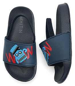 WHITIN Toddler Boy Girl Water Shoes Sandals Little Kid Size 8 Sandalias Niñas Slide Slippers Strap Waterproof for Summer Beach Pool Swimming Walking Year Old Children Cute Navy Dark Blue 25
