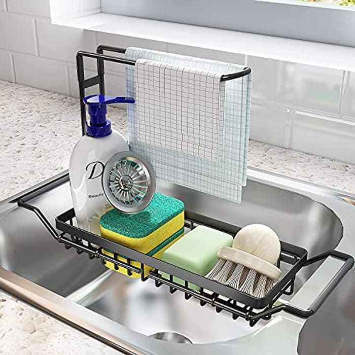 SNTD Sink Caddy Sponge Holder Large, Expandable Drying Rack Over Sink for Kitchen Dish Supplies/Sponge/Sink Plug/Rags/Brush, Black