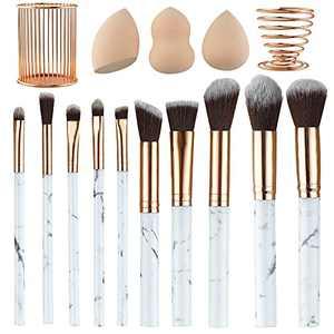 XIMAJIA Marble Makeup Brush Set 10 with Brush Holder and 3 Makeup Sponge with Metal Holder Premium Synthetic Foundation Brushes Blending Face Powder Eye Shadows Makeup Brushes Kit(Rose Gold)