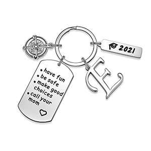 Inspirational Gifts for Daughter, Compass Initial E Key Ring