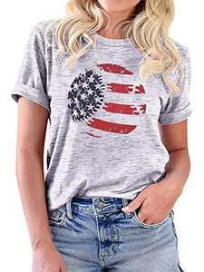 Womens American Flag Baseball Graphic T Shirt Cute Tees 4th of July Summer Short Sleeve Casual Light Gray