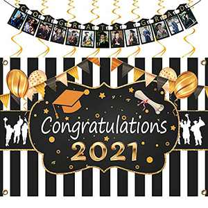 """2021 Graduation Backdrop Decorations, Congrats Grad Photo Banner, Gold Hanging Swirls, Large Congratulations Fabric Background for Photography, Black Gold White Graduation Party Suppliers(71x47"""")"""