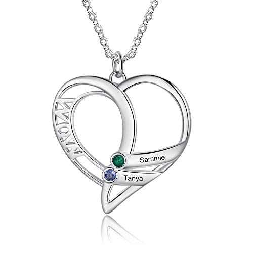 kaululu Gifts for Mom Heart Necklace for Women with 2 Birthstones Custom Women's Name Necklaces Personalized Necklace for Mother Wife Grandma