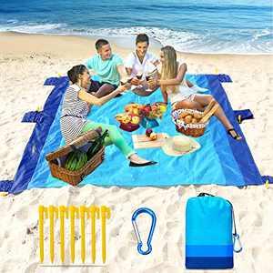 "Beach Blanket-79 X 83"" Sandproof Waterproof Lightweight Portable Beach Mat with 7 Plastic Floor, 210D Nylon Picnic Pocket Blanket for Park Beach Hiking Camping (Blue-Blue)"