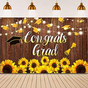 2021 Congrats Grad Backdrop Fabric Rustic Wood Sunflowers Graduation Photography Background Graduation Party Decorations Congrats Grad Banner for Graduation Prom Party Photo Booth, 72.8 x 43.3 Inch
