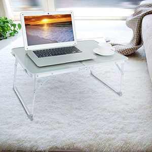 Foldable Laptop Stand Table,Portable Mini Picnic Table Breakfast Serving Bed Tray,Folds in Half & Lightweight Study Desk Workstations Desk for Indoor Outdoor,Silver
