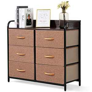 Bigroof Dresser with 6 Drawers, Fabic Dresser with Wooden Handle for Bedroom Closet - Steel Frame Wooden Top with Fabric Bins for Clothing Blankets Plush Toy (Brown)