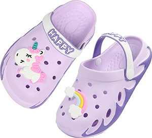 Kids Cute Garden Shoes Cartoon Slides Sandals Clogs Children Beach Slipper for Boys Girls with Cartoon Charms Size 2.5 M US Purple Big Kid