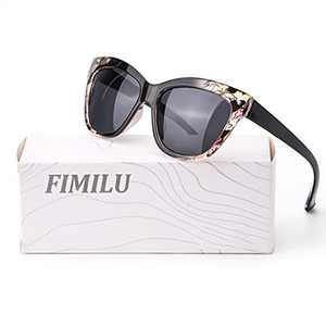 FIMILU Trendy Sunglasses Womens, Fashion Square Cat Eye Sunglasses UV400 Polarized Lens Vintage Shades (Transparent Blackfloral Cateye Sunglasses)