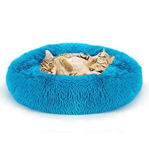 Gaidenly Modern Soft Plush Round Pet Bed for Cats Or Small Dogs, 20in Pet Bed with Fluffy Faux Fur for Anti Anxiety and Cozy, Super Soft Durable Fabric Pet Beds, Washable Luxury (20 X 20 Inch, Blue)