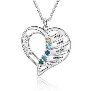 kaululu Gifts for Mom Heart Necklace for Women with 5 Birthstones Custom Women's Name Necklaces Personalized Necklace for Mother Wife Grandma