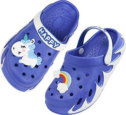 Weweya Kids Clogs Boy Gardening Girl Garden Shoes Child Sandals Children Shower Water Slides Quick Dry Closed-Toe Aqua Slippers Size 3 M US Dark Blue Big Kid