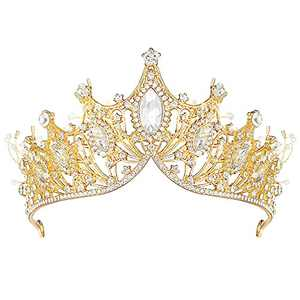 Gold Crown for Women, Baroque Birthday Crown Crystal Princess Hair Accessories and Tiaras