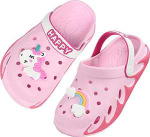 Weweya Clogs for Girls Boys Garden Shoes Slip on Water Shoes Quick Dry Beach Sandals Aqua Shoes Summer Slides Lightweight Size 7 M 8 M US Pink Toddler