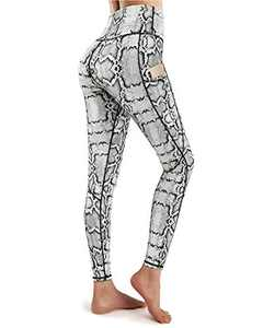 WALK FIELD Womens Yoga Pants with Side Pockets High Waisted Tummy Control Athletic Leggings Gym Fitness Tights (Snake Pattern, L)