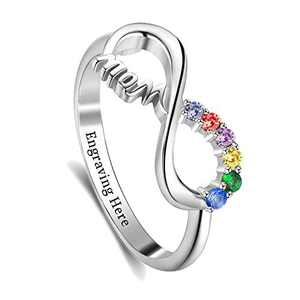 BAUMA AUTO Mothers Ring Personalized Mothers Rings with 1/2/3/4/5/6/7/8 Simulated Birthstones for Grandmother Mother Meaningful Anniversary Rings for Women Wife (Sliver-5)