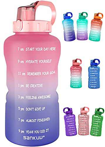 SANKUU Large1 Gallon/128oz Gallon Water Bottle Motivational with Time Marker & Straw, Leakproof Water Jug Ensure You Drink Daily Water Throughout The Fitness Day (Pink/Grape Gradient)