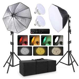 """2pack Softbox Continuous Lighting Kit for Camera Photo Video Photography Studio Light with 28"""" × 28"""" Octagon Softbox and 5700K Super Brigh Light Bulb/Nylon Color Screen/Light Stand/Carrying Bag"""