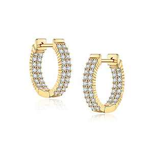 Gold Inside-out Hoop Earrings for Women, S925 Sterling Silver Post 15MM Gold Oval Hoops Dainty CZ Inside-Out Style Gold Hoop Earrings for Women