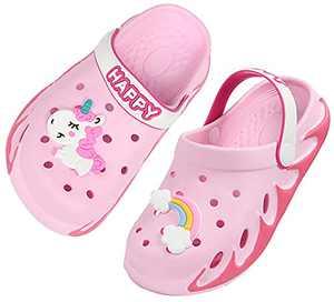 Weweya Kids Cute Garden Shoes Cartoon Slides Sandals Clogs Children Beach Slipper for Girls Size 13 M US Pink Little Kid